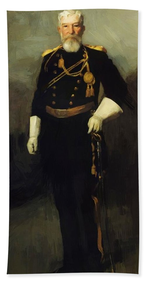 Portrait Bath Sheet featuring the painting Portrait Of Colonel David Perry 9th U Cavalry 1907 by Henri Robert