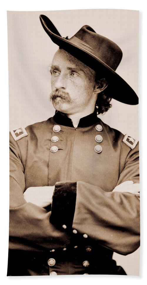 Custer Hand Towel featuring the photograph Portrait Of General George A Custer by American School