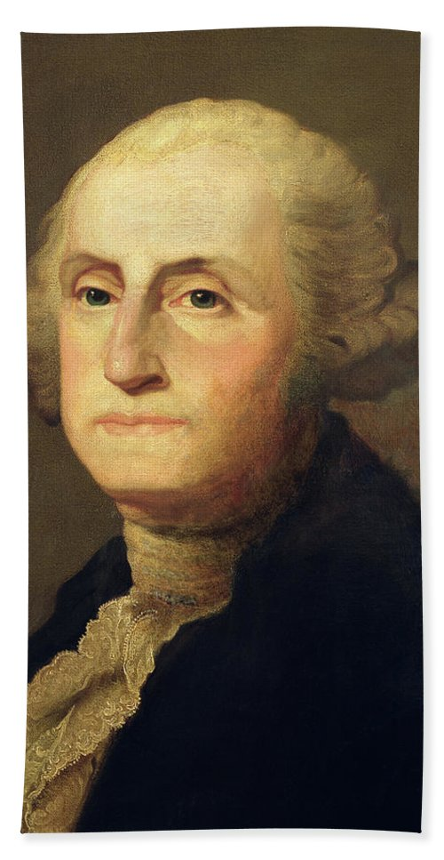 Portrait Of George Washington (oil On Canvas) By Gilbert Stuart (1755-1828) Bath Sheet featuring the painting Portrait Of George Washington by Gilbert Stuart