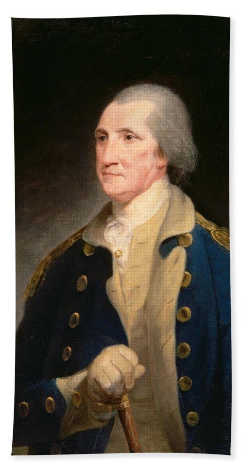 Robert Edge Pine Bath Sheet featuring the painting Portrait Of George Washington by Robert Edge Pine