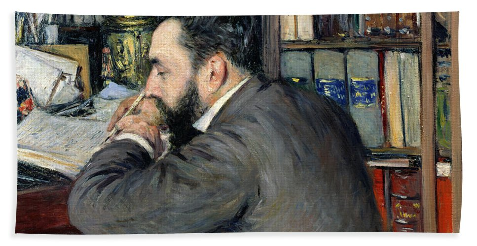 Gustave Caillebotte Hand Towel featuring the painting Portrait Of Henri Cordier by Gustave Caillebotte