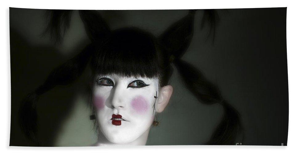 Portrait Hand Towel featuring the photograph Portrait Of Japanese Model by Raphael Ben Dor