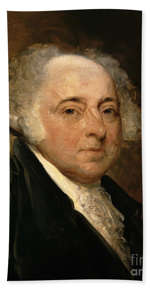 Portrait Of John Adams (oil On Canvas) By Gilbert Stuart (1755-1828) (after) Hand Towel featuring the painting Portrait Of John Adams by Gilbert Stuart