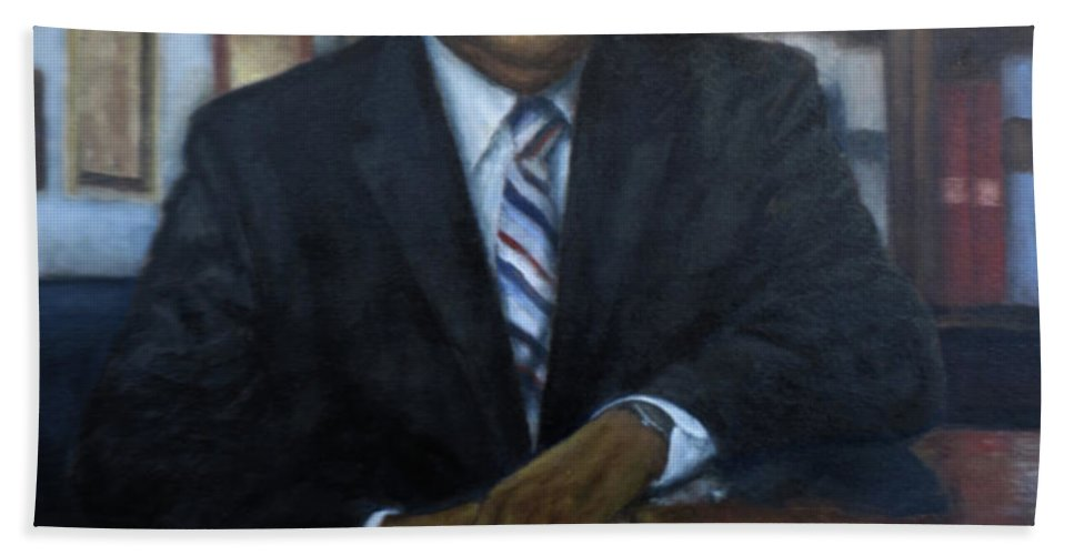 Hand Towel featuring the painting Portrait Of John Lewis by Sylvia Castellanos