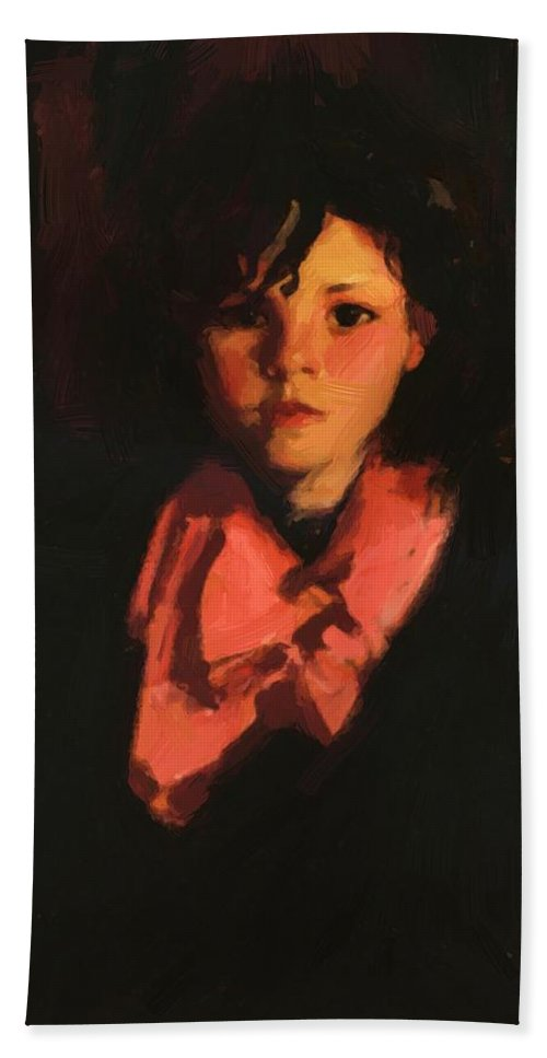 Portrait Bath Sheet featuring the painting Portrait Of Mary Ann 1926 by Henri Robert