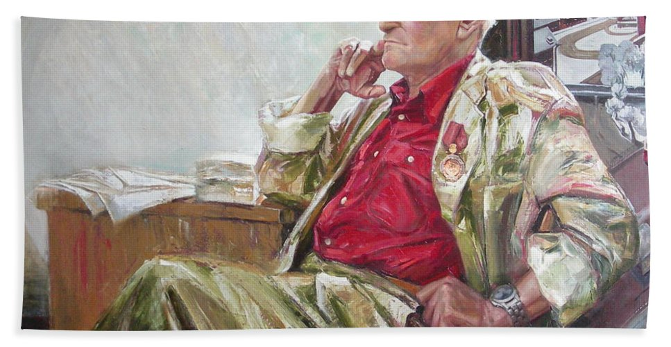 Oil Bath Sheet featuring the painting Portrait Of May Dancig by Sergey Ignatenko