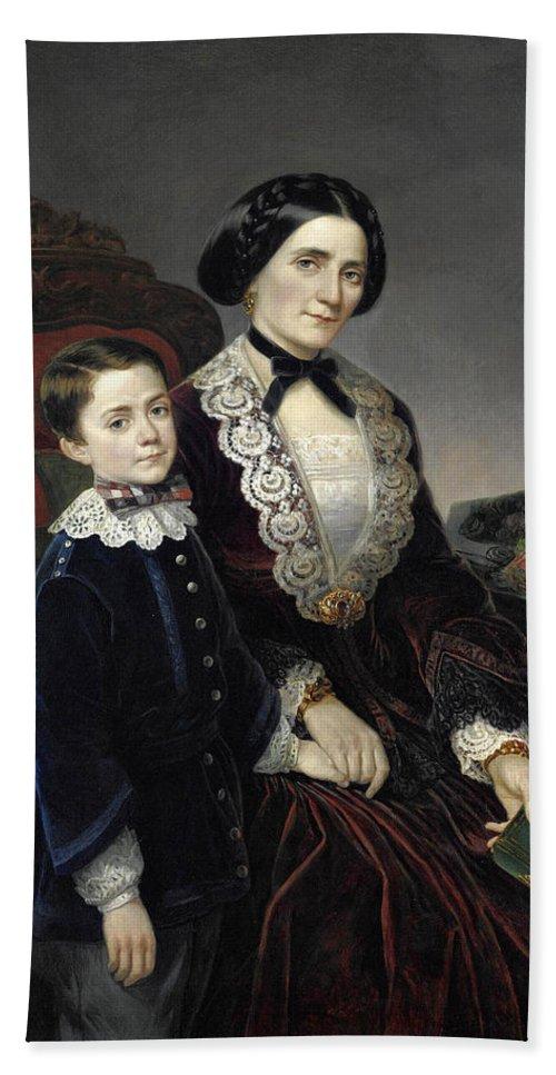 Bartolomeo Giuliano Bath Sheet featuring the painting Portrait Of Mother And Son by Bartolomeo Giuliano