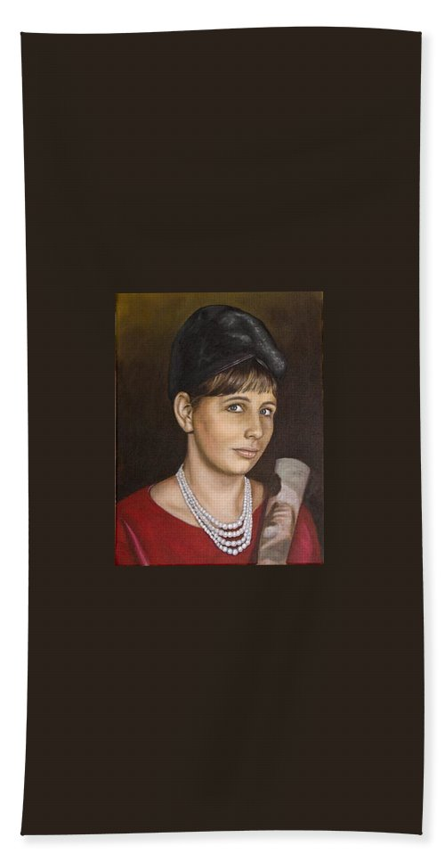Portrait Bath Sheet featuring the painting Portrait Of My Mother Early Sixties by Rob De Vries