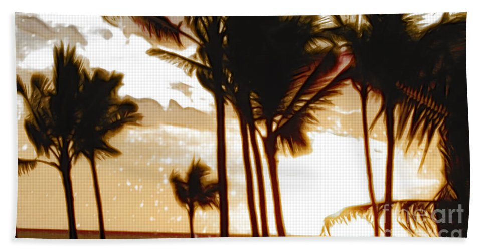 Palm Hand Towel featuring the photograph Portrait Of Paradise by Paulette B Wright