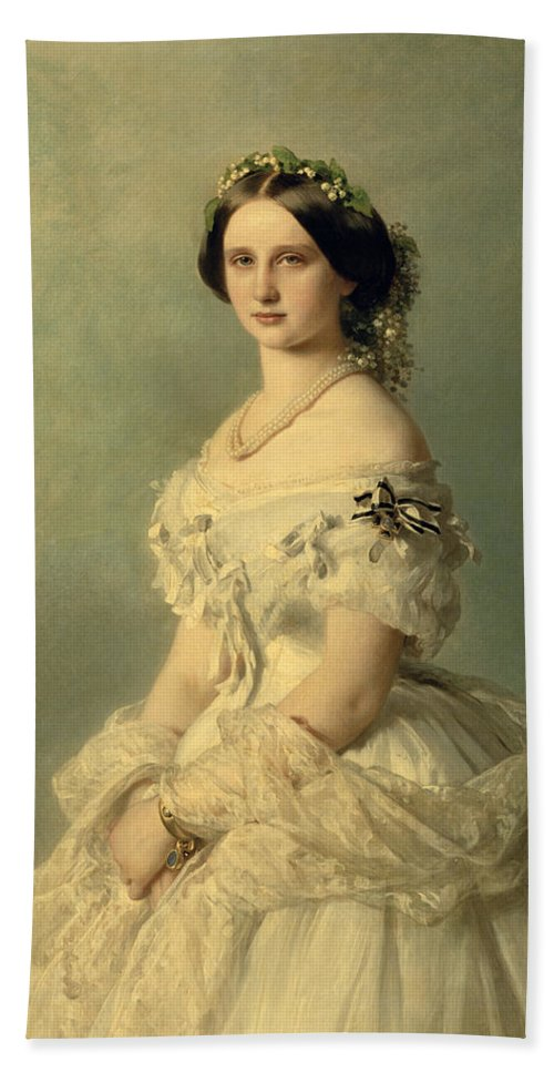 Portrait Bath Towel featuring the painting Portrait Of Princess Of Baden by Franz Xaver Winterhalter