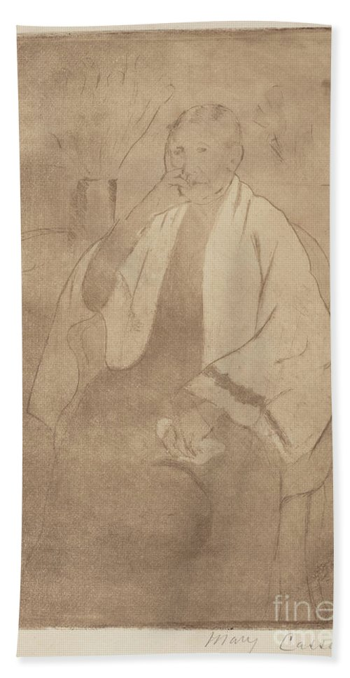 Hand Towel featuring the drawing Portrait Of The Artist's Mother by Mary Cassatt
