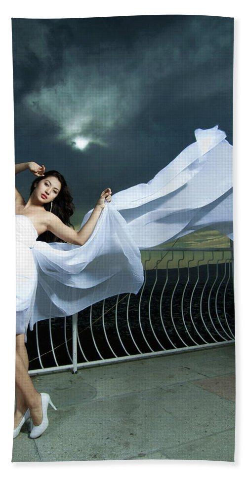 Glamor Bath Sheet featuring the photograph Portrait Of The Girl by Marat Jolon