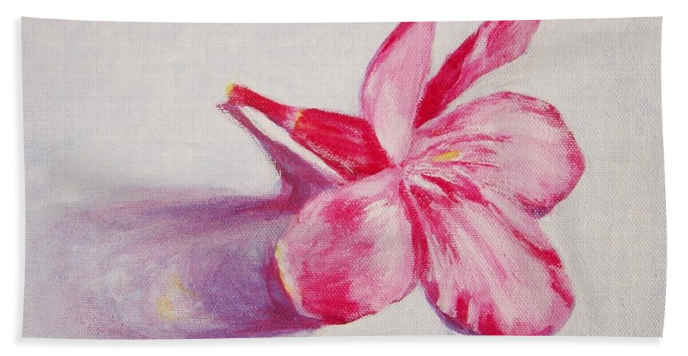 Genneri Bath Sheet featuring the painting Portrait Of The Kaneri Flower. Oleander by Usha Shantharam
