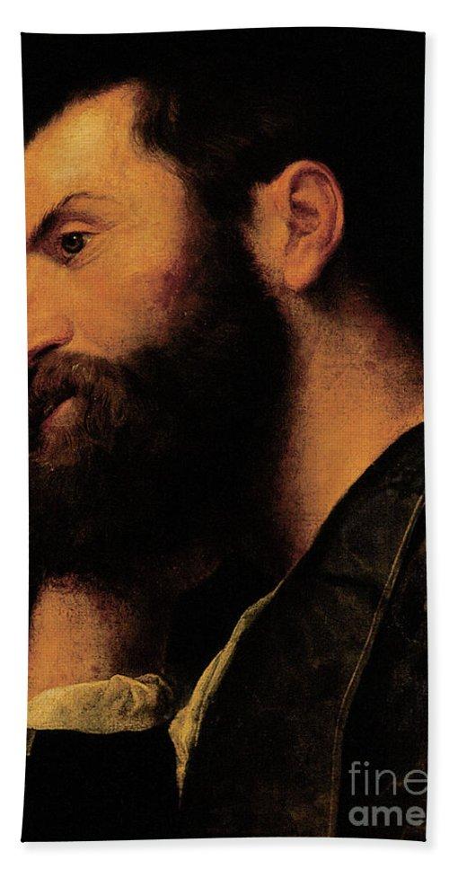 Portrait Of The Poet Pietro Aretino Hand Towel featuring the painting Portrait Of The Poet Pietro Aretino by Alessandro Bonvicino Moretto