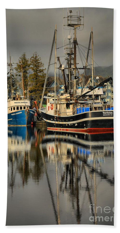 Tactician Hand Towel featuring the photograph Portrait Of The Ucluelet Trawlers by Adam Jewell
