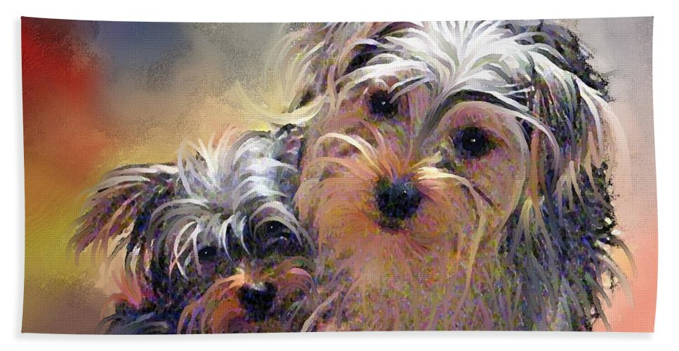 Yorkshire Terrier Puppy Dogs Bath Sheet featuring the painting Portrait Of Yorkshire Terrier Puppy Dogs by Susanna Katherine