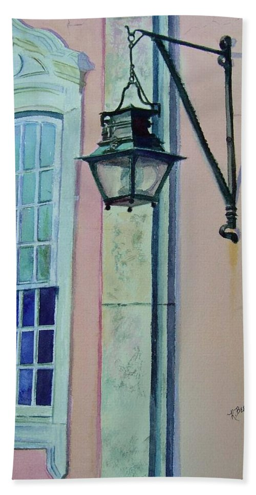Portugal Bath Sheet featuring the painting Portugal Street Scene by Katherine Berlin