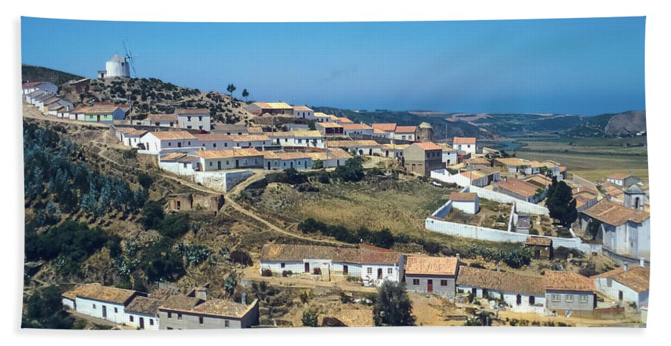 Portugal Portugese Republic Hillside Village Windmill Windmills Mill Mills House Houses Building Buildings Structure Structures City Cities Village Cityscape Cityscapes Architecture Landscape Landscapes Bath Sheet featuring the photograph Portugese Hillside Village by Bob Phillips
