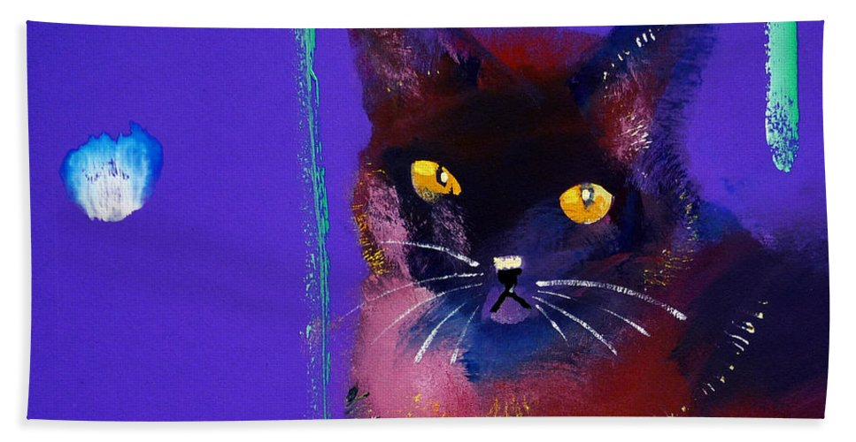 Cat Hand Towel featuring the painting Posh Tom Cat by Charles Stuart