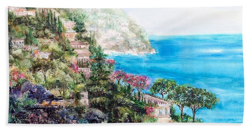 Landscape Hand Towel featuring the painting Positano by Barbara Colangelo