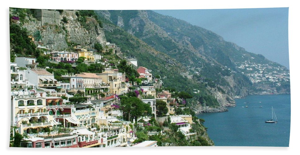 Positano Bath Towel featuring the photograph Positano In The Afternoon by Donna Corless
