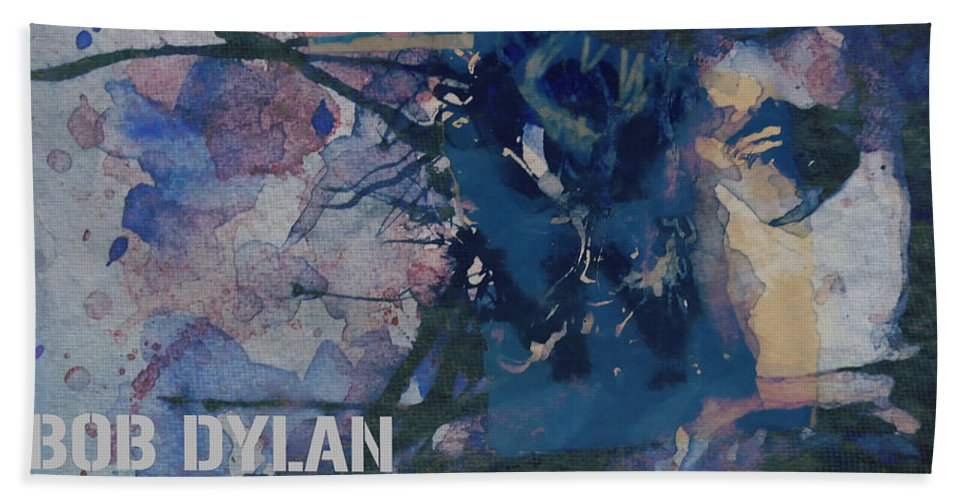 Bob Dylan Bath Towel featuring the painting Positively 4th Street by Paul Lovering