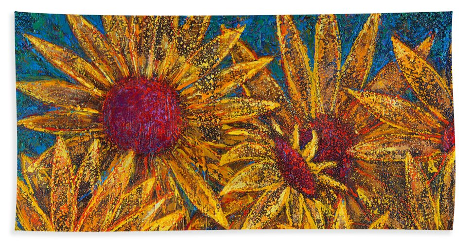 Flowers Bath Sheet featuring the painting Positivity by Oscar Ortiz
