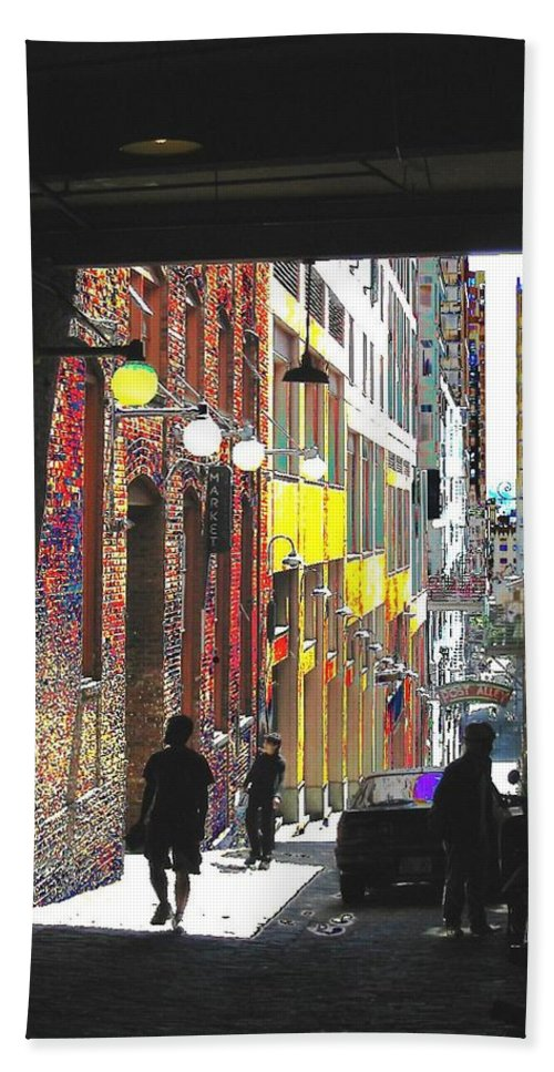 Seattle Bath Sheet featuring the digital art Post Alley by Tim Allen