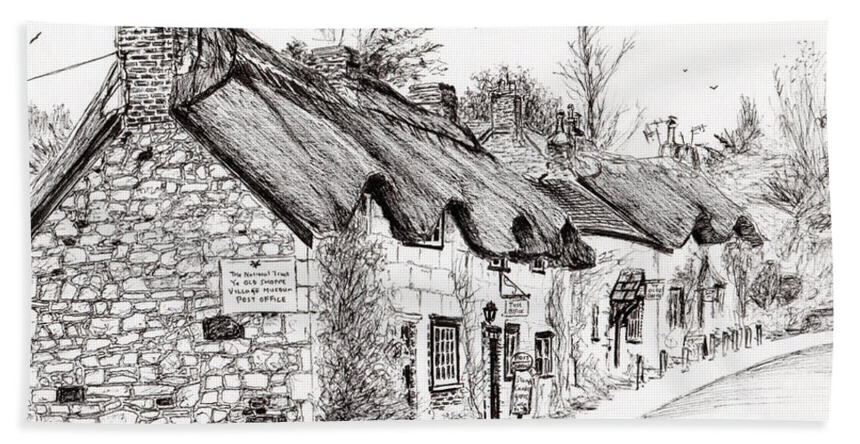 Brighstone Hand Towel featuring the drawing Post Office And Museum by Vincent Alexander Booth