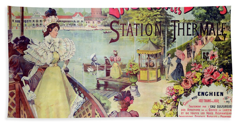 France Bath Sheet featuring the painting Poster Advertising Spa Resort by French School