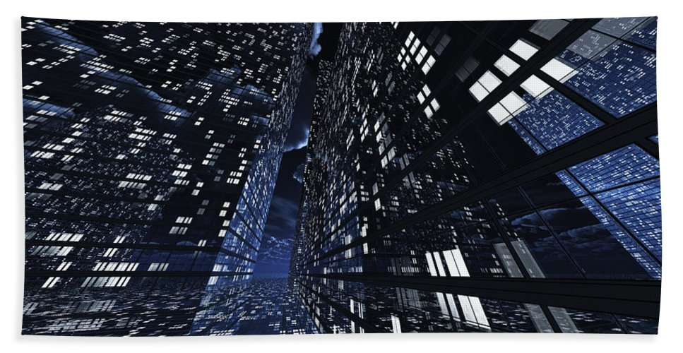 Abstractly Hand Towel featuring the digital art Poster-city 0 by Max Steinwald