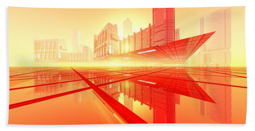 Abstractly Bath Sheet featuring the digital art Poster-city 1 by Max Steinwald