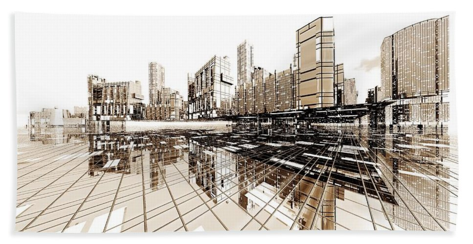 Abstractly Hand Towel featuring the digital art Poster-city 4 by Max Steinwald