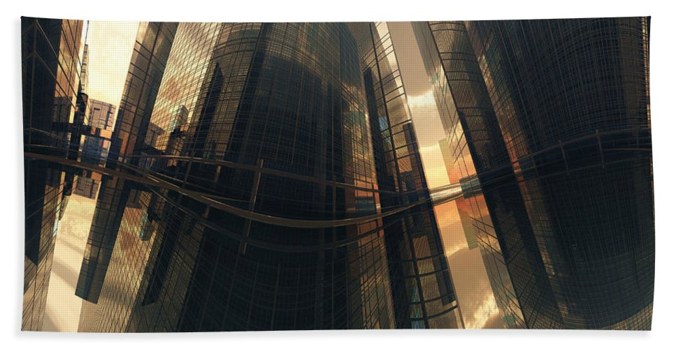 Reflection Hand Towel featuring the digital art Poster-city 7 by Max Steinwald