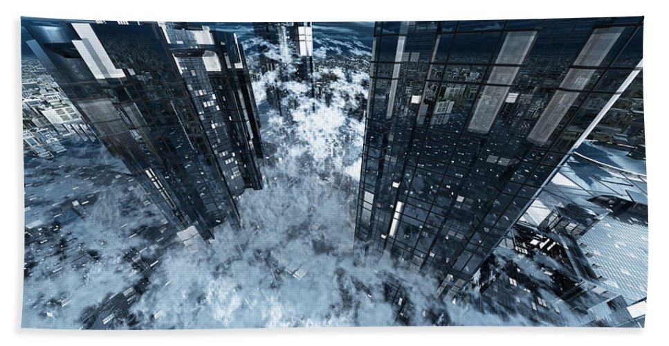Abstractly Hand Towel featuring the digital art Poster-city 8 by Max Steinwald