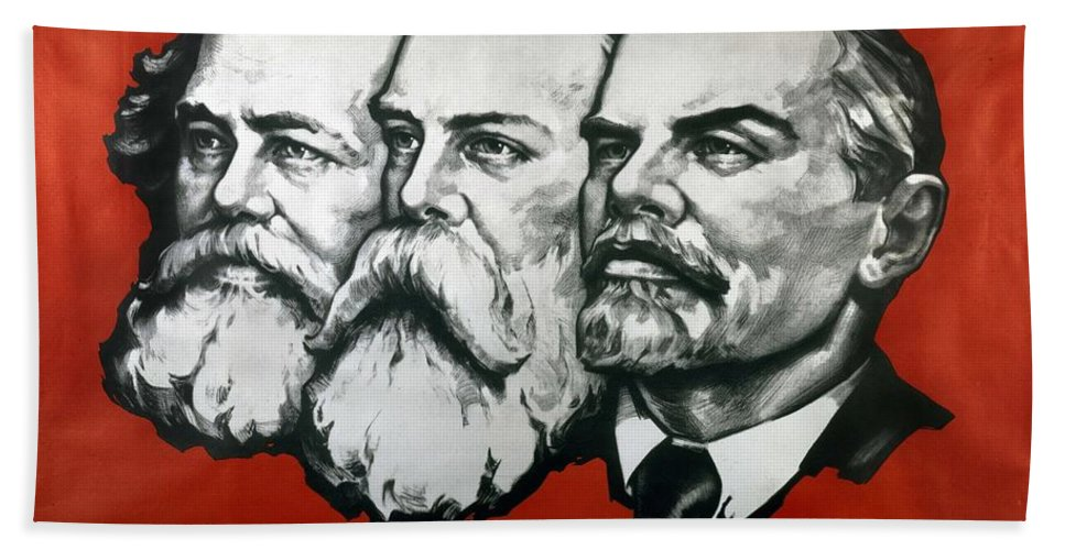 Poster Depicting Karl Marx Bath Sheet featuring the painting Poster Depicting Karl Marx Friedrich Engels And Lenin by Unknown