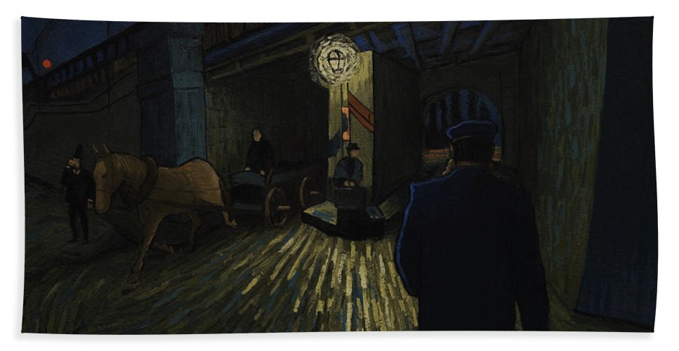 Hand Towel featuring the painting Postman Walks Over The Bridge by Lukasz Gordon