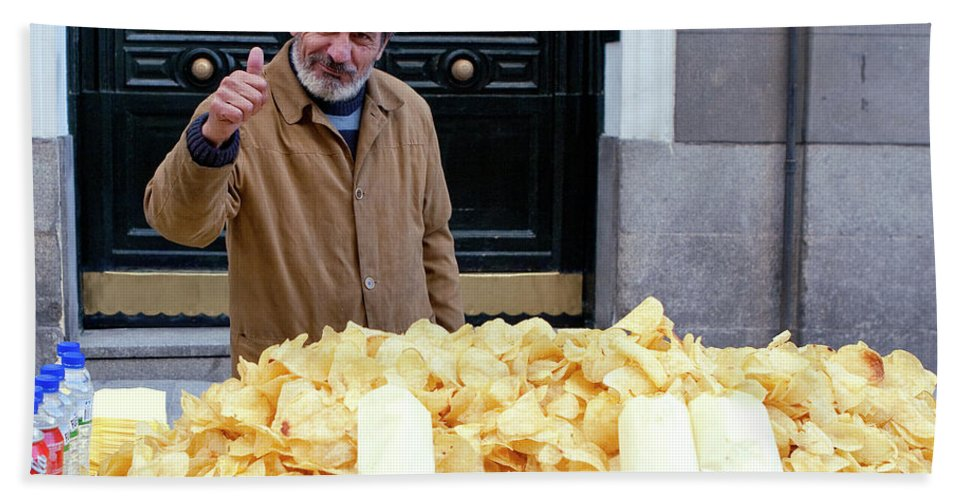 Madrid Bath Sheet featuring the photograph Potato Chip Man by Lorraine Devon Wilke