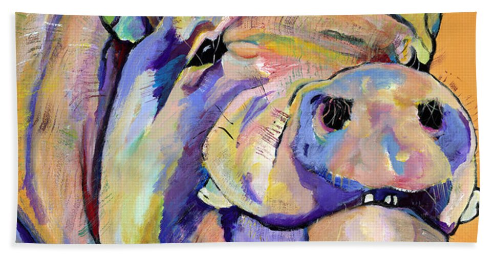 Pig Prints Bath Towel featuring the painting Potbelly by Pat Saunders-White