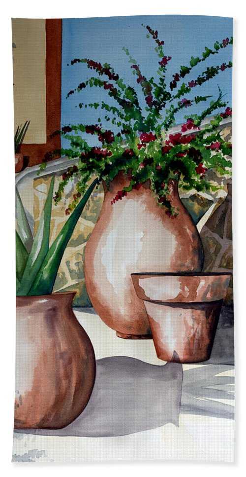 Floral Painting Bath Towel featuring the painting Pots And Bougainvillea by Kandyce Waltensperger