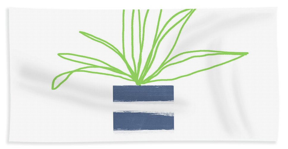 Plant Bath Towel featuring the mixed media Potted Plant 2- Art By Linda Woods by Linda Woods