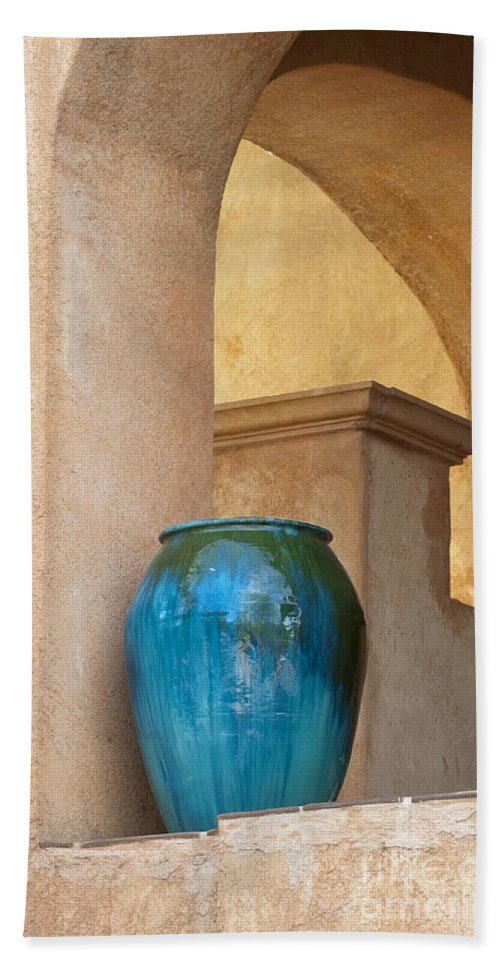 Southwest Hand Towel featuring the photograph Pottery And Archways by Sandra Bronstein