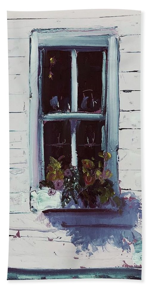 Annapolis Bath Sheet featuring the painting Pottery Store Window by Maggii Sarfaty