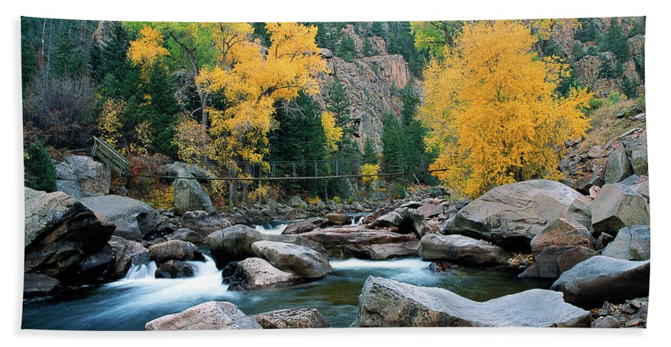 Colorado Hand Towel featuring the photograph Poudre Gold by Jim Benest