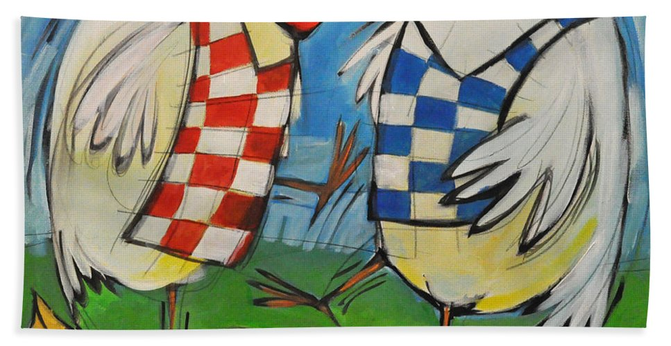 Hens Hand Towel featuring the painting Poultry In Motion by Tim Nyberg