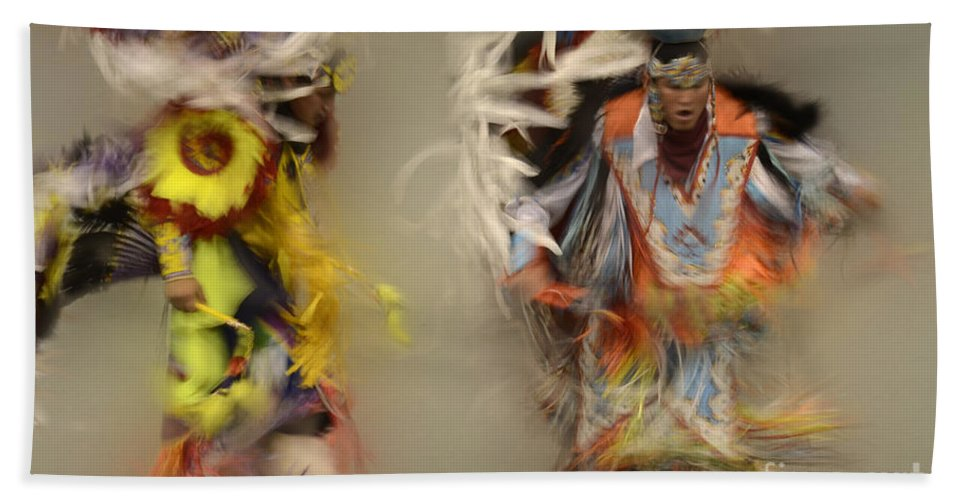 Pow Wow Bath Sheet featuring the photograph Pow Wow Beauty Of The Dance 1 by Bob Christopher