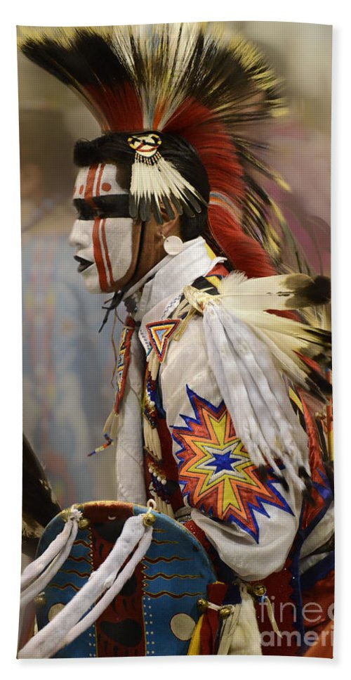 Pow Wow Bath Sheet featuring the photograph Pow Wow First Nation Dancer by Bob Christopher