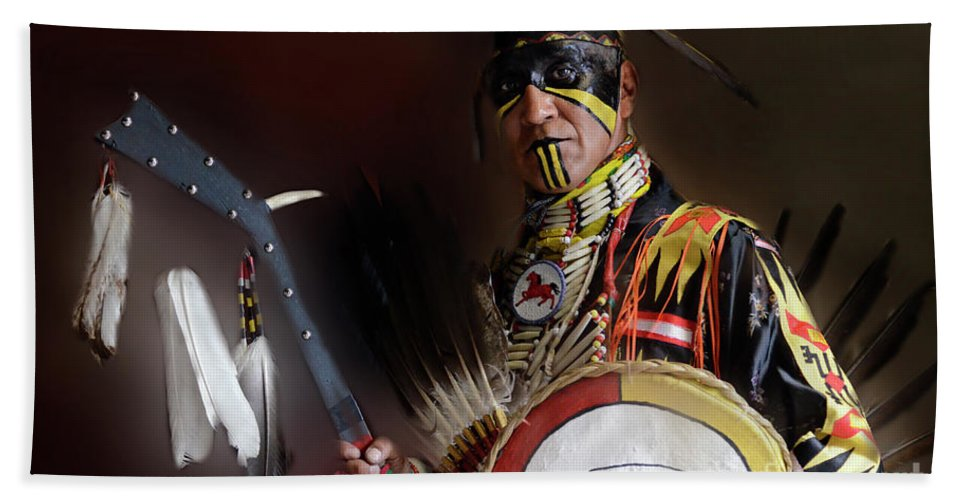 Pow Wow Bath Sheet featuring the photograph Pow Wow Portrait Of A Proud Man 2 by Bob Christopher
