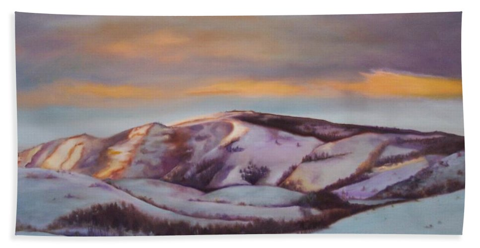 Landscape Hand Towel featuring the painting Powder Mountain by Marlene Book