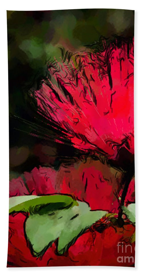 Calliandra Emarginata Bath Sheet featuring the photograph Powder Puff In Red by Betty LaRue